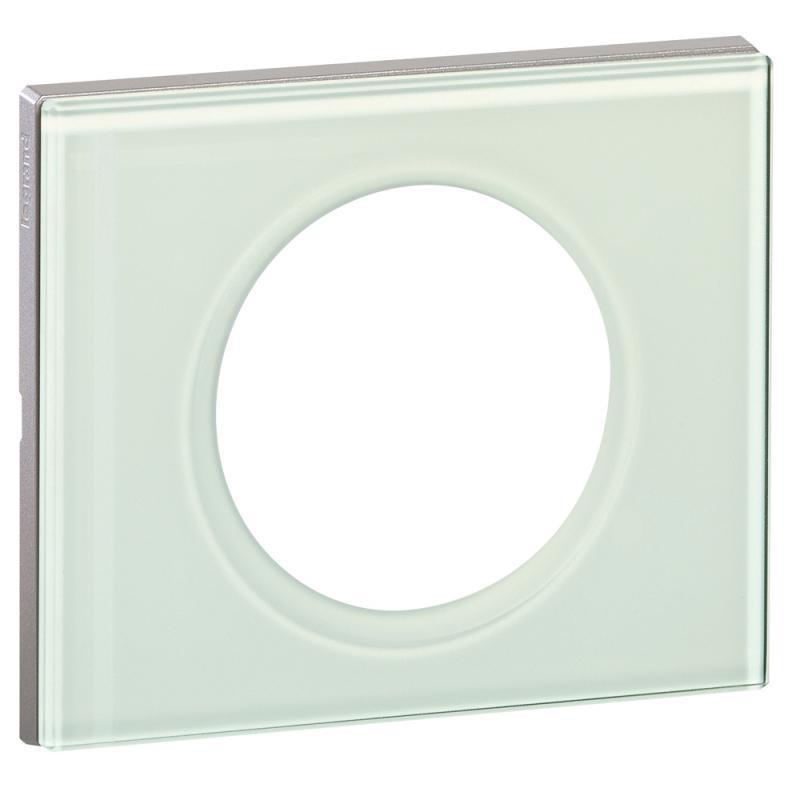 plaque c liane 1 poste verre kaolin legrand ref. Black Bedroom Furniture Sets. Home Design Ideas