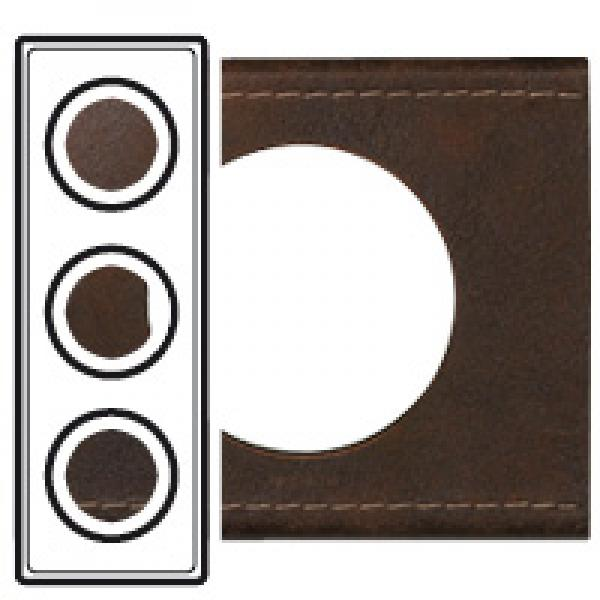 plaque c liane 3 postes cuir brun textur legrand ref 069403 appareillage mural plaques. Black Bedroom Furniture Sets. Home Design Ideas