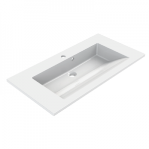 AQUARINE Plan polybeton CUP 60cm simple vasque Blanc Brillant