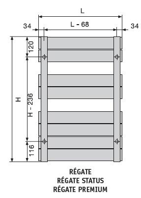 Regate mixte color 583 600w acova ref asx126050c salle for Seche serviette sous fenetre