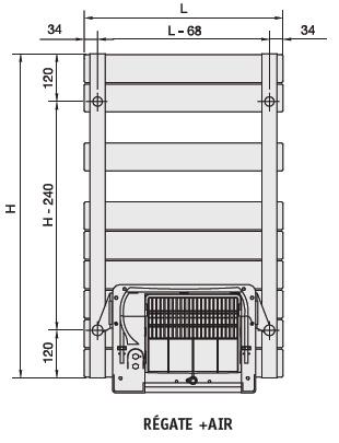 2899204418b18b ACOVA - Radiateur Sèche-serviette REGATE Air electrique blanc 500W - schéma