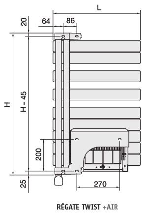 radiateur s che serviette regate twist air electrique gauche blanc 1000w acova ref. Black Bedroom Furniture Sets. Home Design Ideas