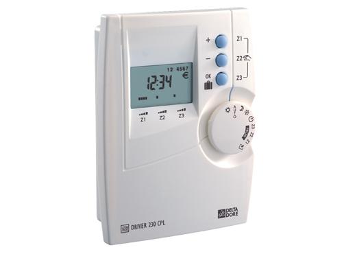 Programmateur cpl 3 zones hebdomadaire option domotique avec tydom 520 delta dore ref 6051101 for Programmateur chauffage electrique fil pilote zones