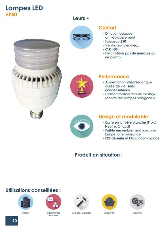 Lampe Led E27 50w Blanc Chaud Danlite Ref Hp50bc Source Led