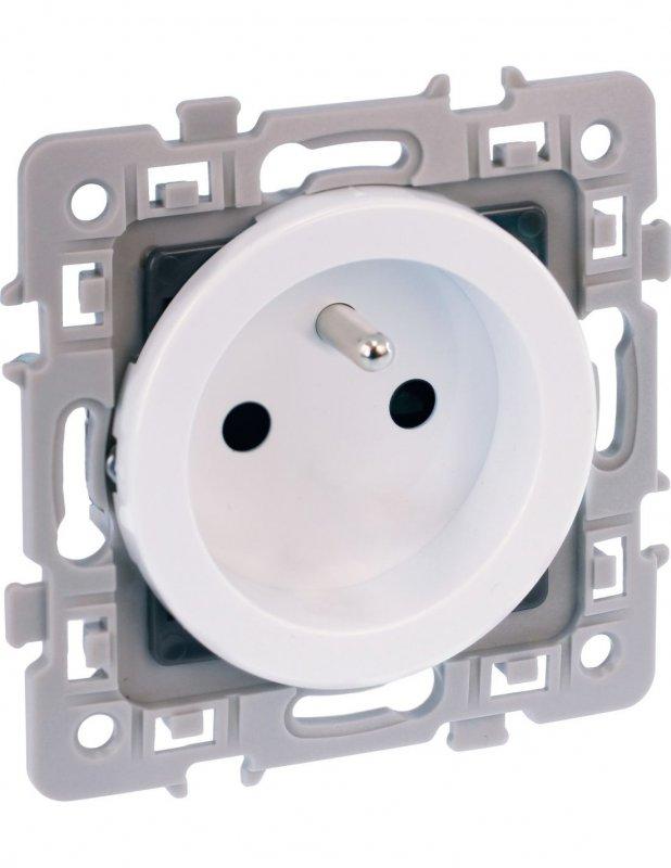 2P+T 16A à griffes Schneider Odace blanc S521089 Double prise de courant rénov