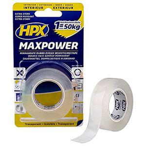 MAX POWER RUBANS DOUBLE FACE TRANSPARENTS TRÈS FORTE ADHÉSION 19MM X 2M