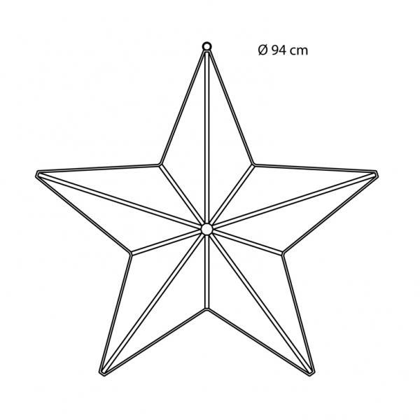 Etoile 3D Argent Strip LED ø94cm 720LED Blanc 230V, Festilight ref 98617-A0 - animation et ...