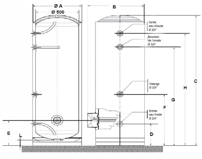 Chauffe eau lectrique socle r sistance blind 300l 400 volts osily ref os17 - Resistance electrique chauffe eau ...