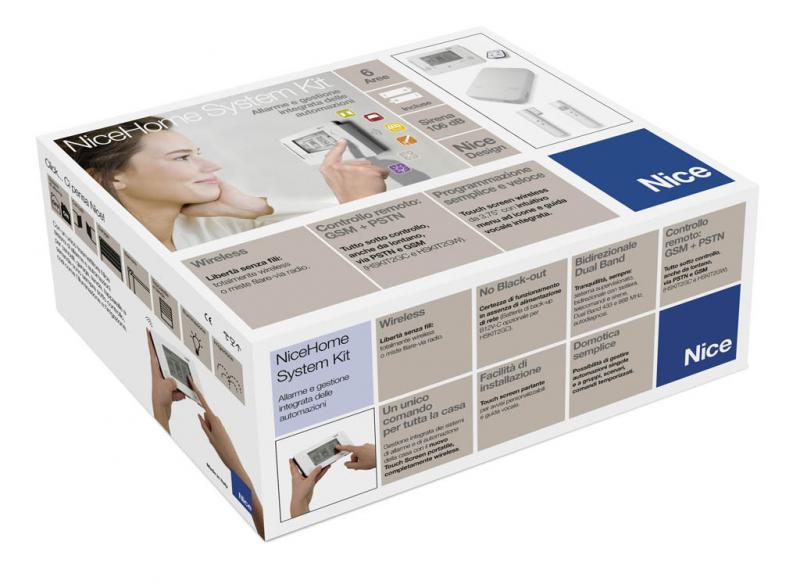 kit alarme avec centrale 100 sans fils nice france ref hskit2gwfr intrusions alarmes. Black Bedroom Furniture Sets. Home Design Ideas