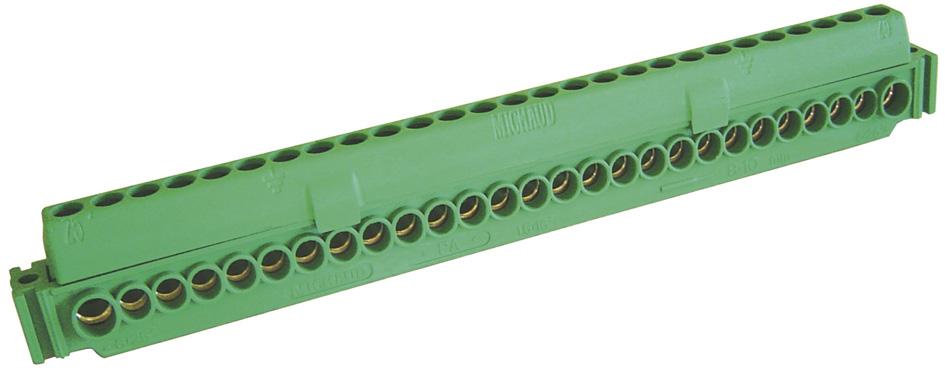 bornier de terre vert pour tableau ip2x 25 entr es eris ref b27e vert accessoires barrette. Black Bedroom Furniture Sets. Home Design Ideas