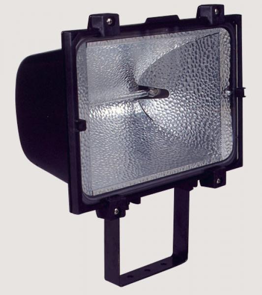 Projecteur noir pour halogenes 1000w r7s sermes ref for Projecteur exterieur 1000w
