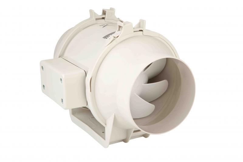 extracteur in line pour reseau de gaines temporise 2 vitesses 160 m3 h d100 mm s p unelvent ref. Black Bedroom Furniture Sets. Home Design Ideas