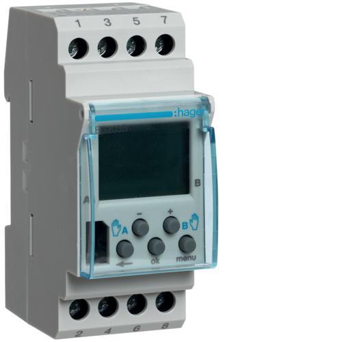 Interrupteur horaire lectronique 2 voies sur 7 jours version base hager ref eg203b gestion for Programmateur chauffage electrique fil pilote connecte