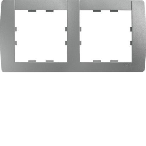 HAGER WK492-1 Plaque horizontale 2 postes Kallysta Titane entraxe 71mm