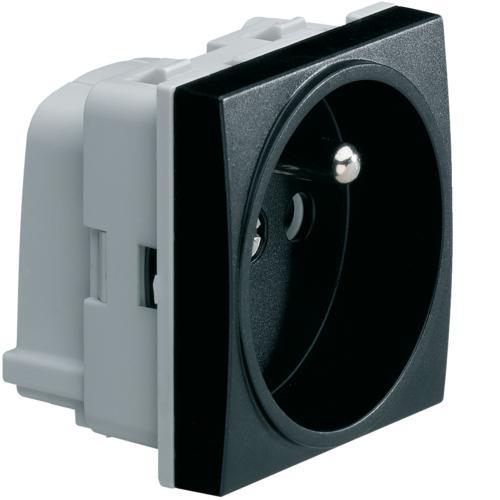 systo prise de courant 2p t 16a 250v sanvis 2 modules noir hager ref ws100n composable module. Black Bedroom Furniture Sets. Home Design Ideas