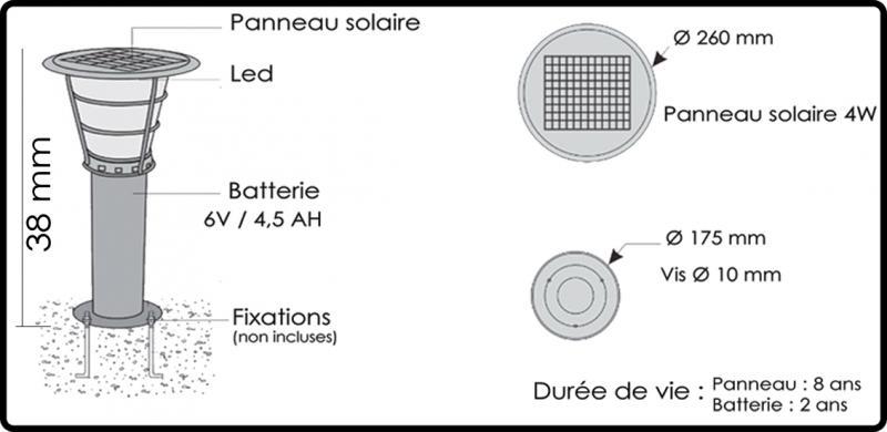 Borne solaire barcelona 38cm inox 304 gris clair bf light for Borne eclairage exterieur solaire