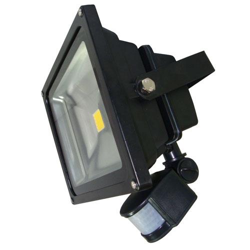 projecteur led avec detecteur 20w finition noir blanc neutre cde lighting ref blpfl20w1dn nw. Black Bedroom Furniture Sets. Home Design Ideas