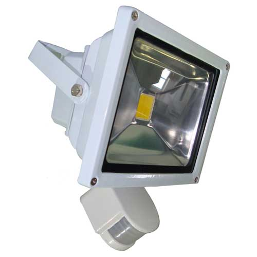 CDE LIGHTING   Projecteur Led Avec Detecteur 30W Finition Blanc   Blanc  Neutre