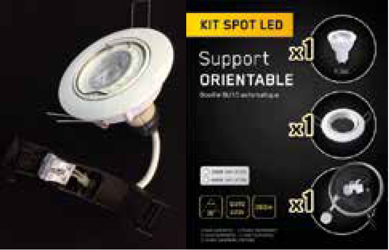 Kit spot orientable led 4000k 380lm netelec in house for Spot orientable interieur