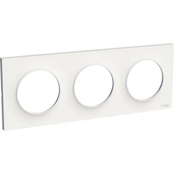 Plaque Blanc 4 postes horizontaux ou verticaux entraxe 71mm Odace Styl SCHNEIDER